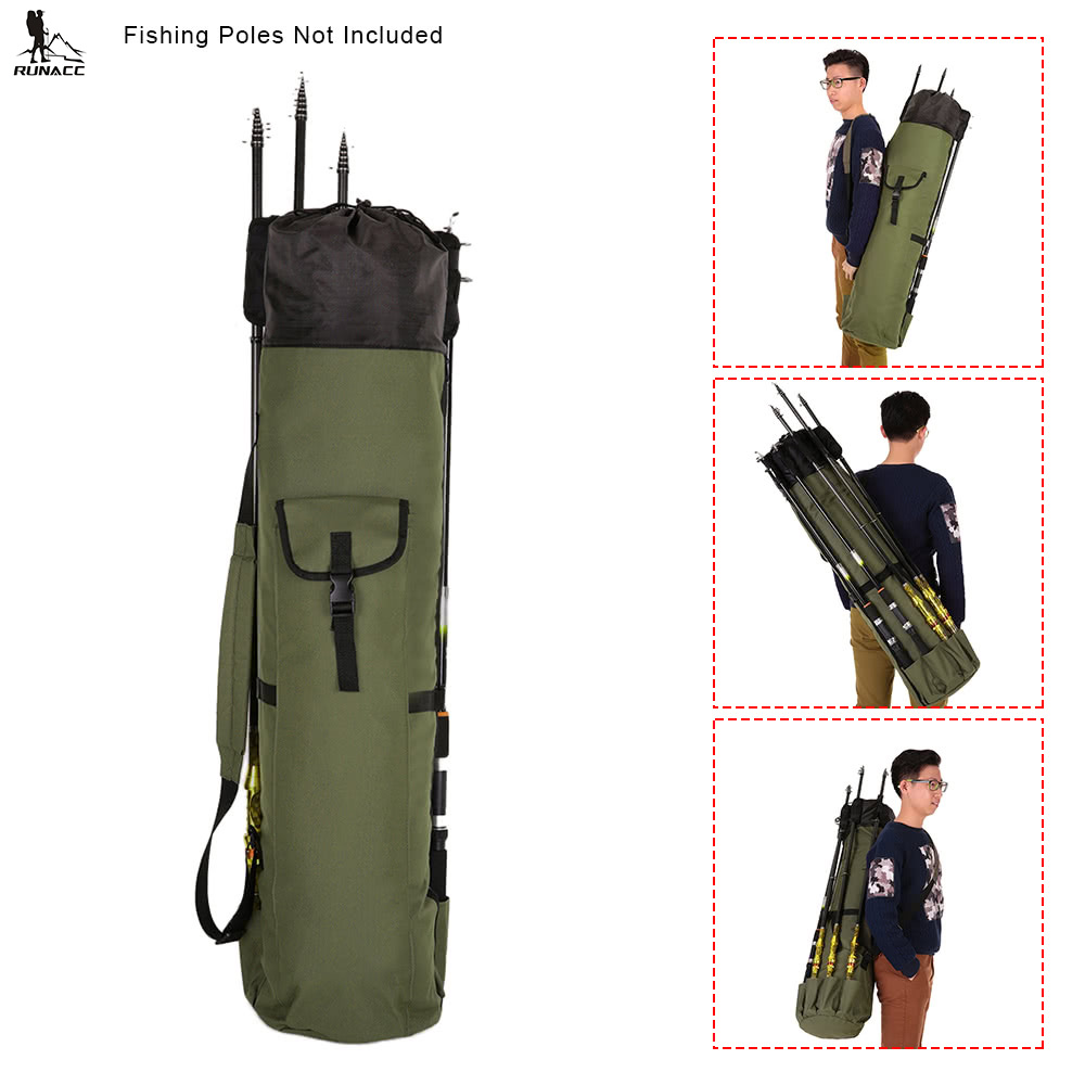 RUNACC Oxford Fishing Rod Case Portable Fishing Pole Carry Organizer Outdoor Fishing Tools Storage Bag Adjustable Shoulder Strap