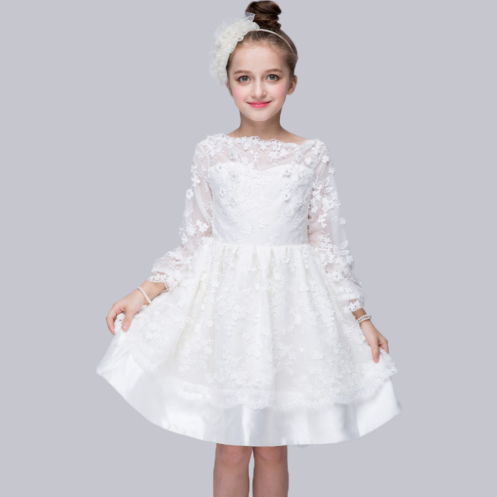 Kids Girls Princess Dress Baby Diamond Flower Decoration Lace Tutu Dresses Children Cute Sweet Party Gown Long Sleeve Clothing 2016 new summer girls kids rose flower princess sleeveless party elegant tutu lace dress cute baby clothes children clothing