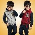 Roupas dos meninos 2016 outono e inverno camisola adolescente meninos grandes esportes menino casaco + calças definir letra R crianças esporte terno Varejo 6-16Y