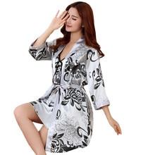 1e51ba3e1295 Сексуальный принт женский халат комплект 2 шт. атласный район для ванной  Халат для женщин кимоно