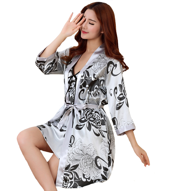 Sexy Print Female Robe Set 2 Pcs Satin Rayon Bathrobe Women Kimono
