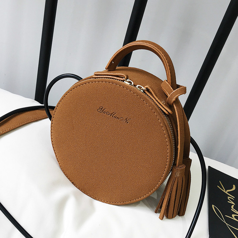 New Brand Designer Women Matte Style Leather Tassel Mini Round Handbag Fashion Ladies Purse Casual Shoulder Bags Crossbody Bags ybyt brand 2017 new women handbag nubuck mini triangle package ladies fashion wristlets casual shoulder messenger crossbody bags