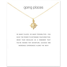Minimalist Compass North Star Hollow Necklace Cute Gold Color Chain Choker Make a Wish Card Necklace For Women stylish hollow out solid color choker necklace for women