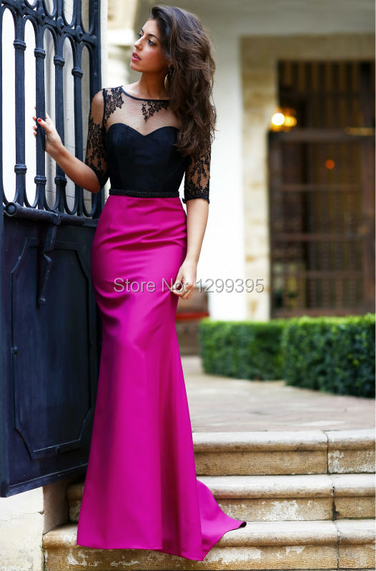 Abendkleid Fuchsia and Black Lace and Satin Long Evening Dress Prom ...