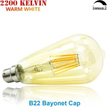 Vintage LED Filament Bulb ST64 B22 Nipple Tip 220V 230V 240V Dimmable 4 6 8 Watt Warm White Bayonet Cap Teardrop Light Bulb 8W