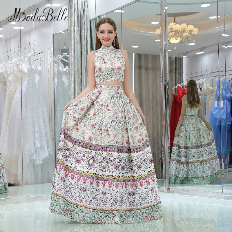 modabelle Two Piece Printed Floral Prom Dress 2018 High Neck Floor Length Evening  Dress Party Gown e4a1ea37f418