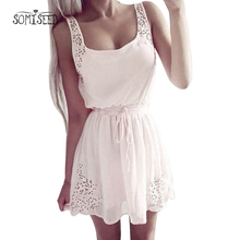 208 New Sexy Dress Slim Sleeveless Hollow Lady Chiffon Mini Vestidos casual Sweet Dresses white/pink Summer Dress Women