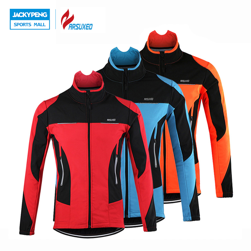 ФОТО ARSUXEO Thermal Fleece Cycling Jacket Windproof Warmer Bike Jacket Sport Cycling Jersey Clothing Jacket Bicycle Sports Coat