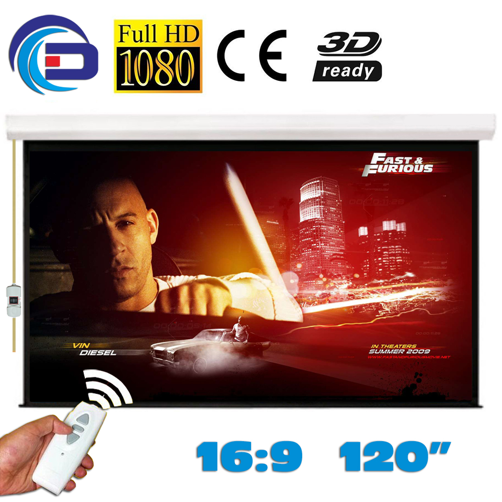 120 inches 16:9 Electric Projection Screen Matt White pantalla proyeccion for LED LCD HD Movie Motorized Projector Screen 4 3 electric projector screen pantalla proyeccion for led lcd hd movie motorized projection screen 72 84 100 inches available