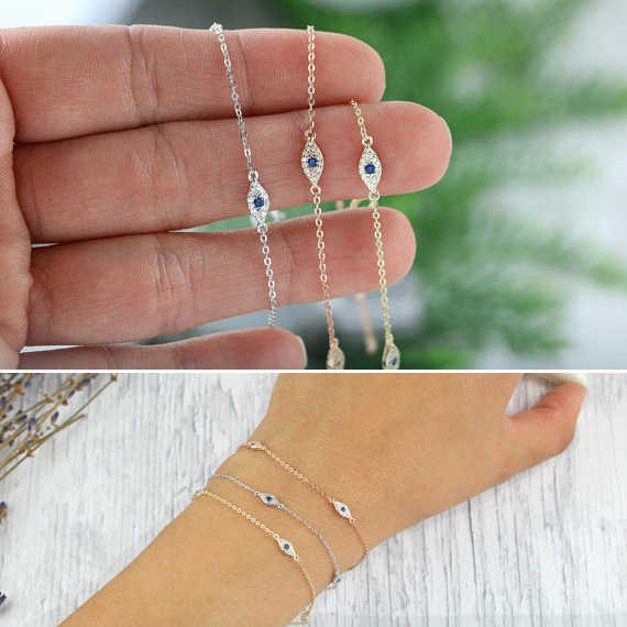 100% 925 sterling silver cute lovely blue white cz evil eye link chain minimal delicate thin chain women girl adorable bracelet