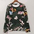 2016 marca de moda camisola mulheres camuflagem e borboleta impresso hoodies inverno camisolas fatos de treino tops da