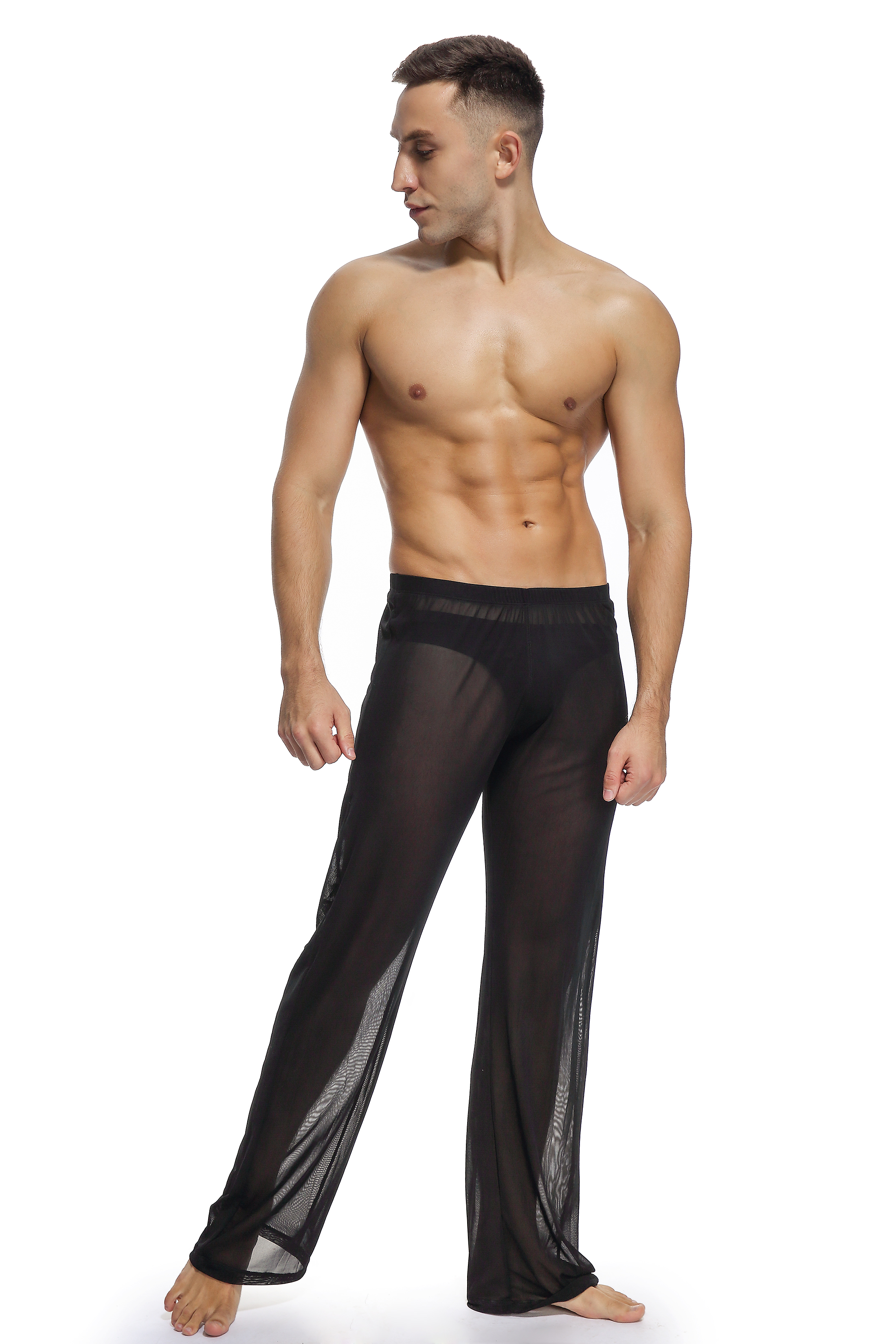 Male sex lounge pants transparent clothes customize morning pants rubber band fitness trousers summer thin