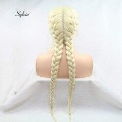 Sylvia Licht Blonde Doppel Braid Perücke Mit Baby Haar Synthetische Braid Spitze Front Perücken Wärme Beständig Faser Haar Mittelscheitel