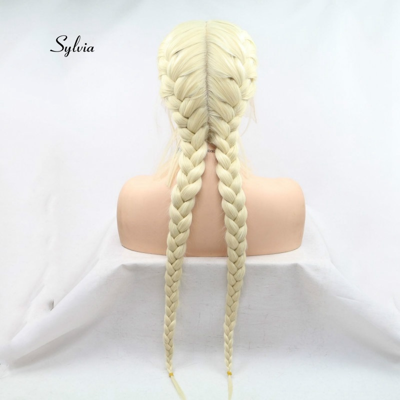 Sylvia Light Blonde Double Braid Wig With Baby Hair Synthetic Braid Lace Front Wigs Heat Resistant Fiber Hair Middle Parting