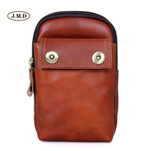 J.M.D Genuine Leather Fashion Brown-red Zipper Top Closure Mens Belt Pocket Bag Waist for Cell Phone Purse 5001B
