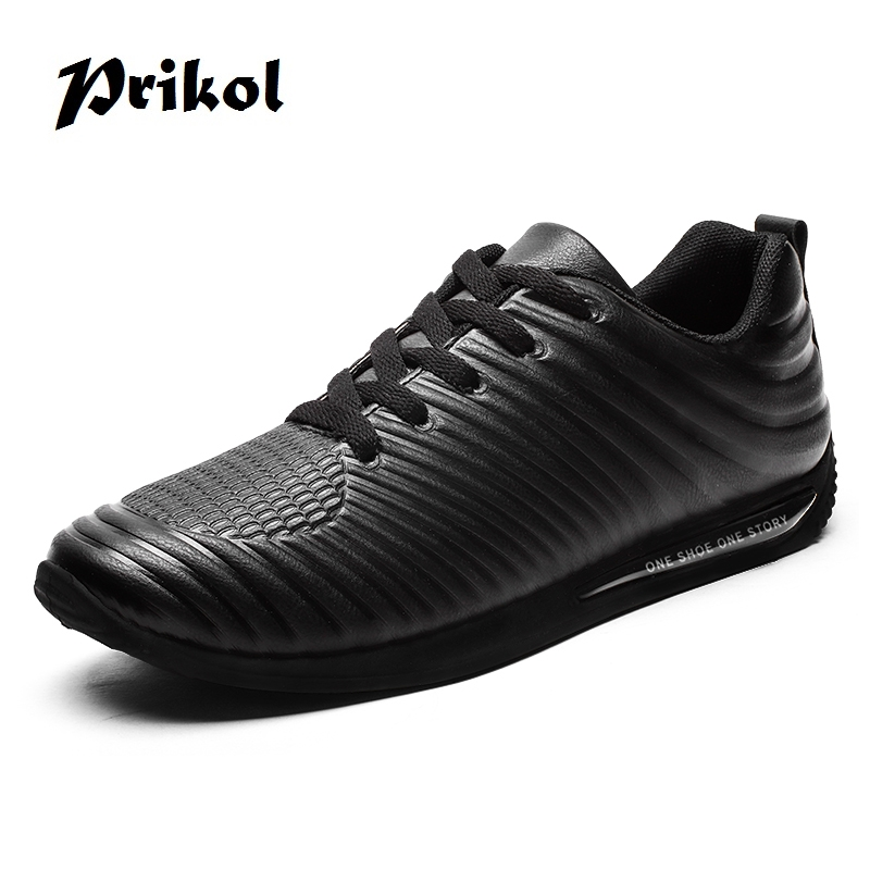 Prikol Brand Designer Good Quality Men Sport Running Shoes Leather Breathable Lace up Flats Light Weight Trainers Handsome