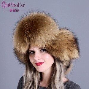 Image 5 - الفراء قبعة للنساء الطبيعية الراكون الثعلب الفراء الروسية Ushanka القبعات الشتاء سميكة الدافئة آذان قبعة منفوخ الموضة الأسود جديد وصول