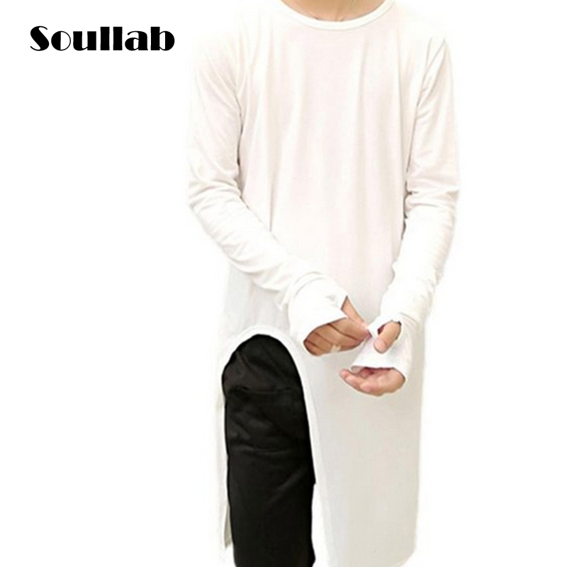 Black White Long Sleeve Cool Cutting Mens Male Tops Tees