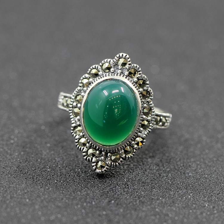 925 pure silver jewelry vintage green Natural stone thai silver female royal wind ring rich 925 pure silver jewelry vintage green natural stone thai silver female royal wind ring rich