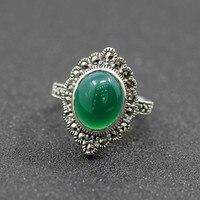 925 saf gümüş takı bağbozumu yeşil Doğal taş tay gümüş kadın kraliyet rüzgar halka zengin