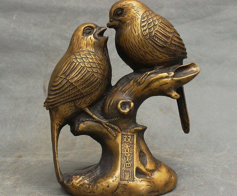 Chine Dyasnty Palace pur Bronze cuivre Fengshui richesse oiseau 2 perroquet ensemble StatueChine Dyasnty Palace pur Bronze cuivre Fengshui richesse oiseau 2 perroquet ensemble Statue