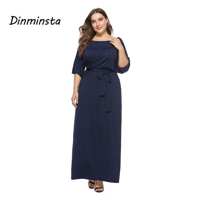 c08a88418591 Dinminsta Women Black Plus Size Derss Elegant Half Sleeve Wide Shoulder  Solid Black Frock Designs Fat Female Spring Maxi Dresses