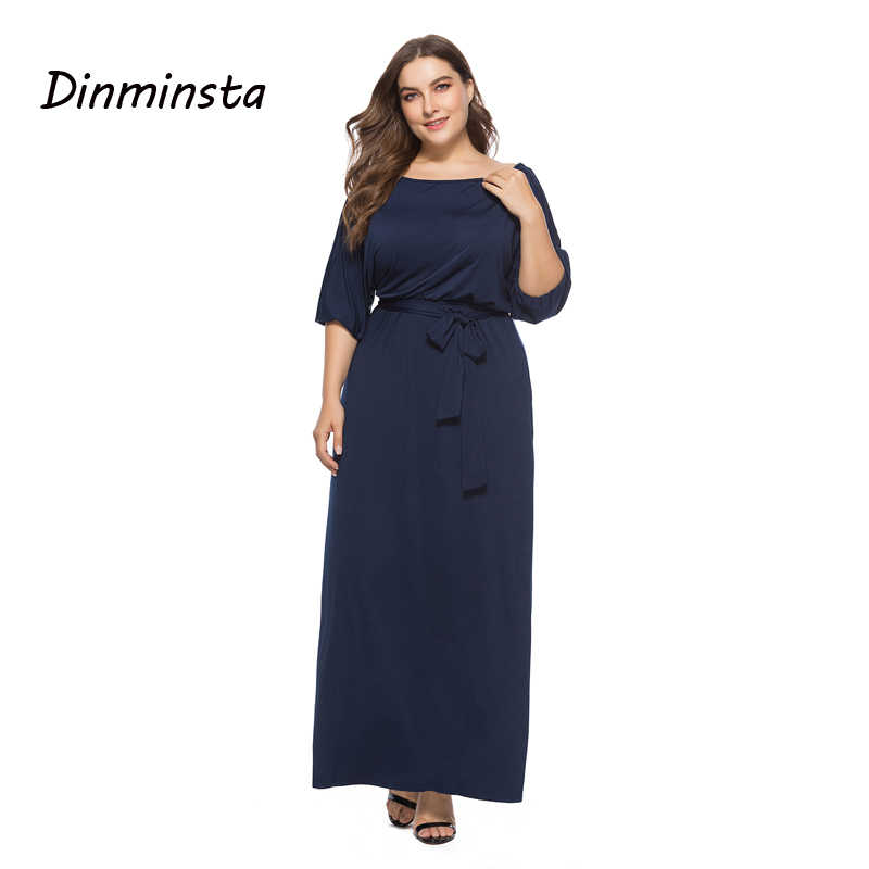 Dinminsta Women Black Plus Size Derss Elegant Half Sleeve Wide Shoulder  Solid Black Frock Designs Fat 5d68665a0a8f
