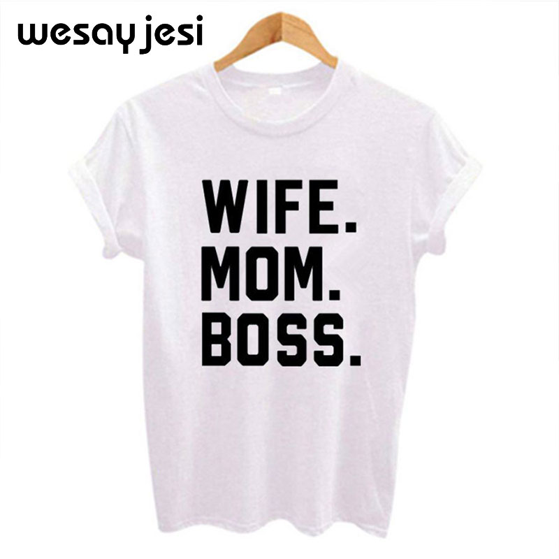 Free Freight Tshirt <font><b>WIFE</b></font> <font><b>MOM</b></font> <font><b>BOSS</b></font> Letters Print Women tshirt Cotton Casual Funny t shirt For Lady Girl Top Tee Hipster Drop Ship image