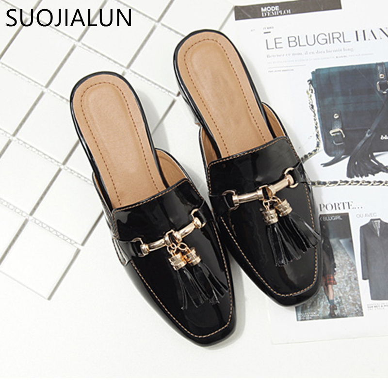 Image 3 - SUOJIALUN Brand 2018 Autumn Plus Size 36 41 Women Slipper Square Toe Flat Woman Slippers Slip On Mules Metal Buckle Slides-in Slippers from Shoes