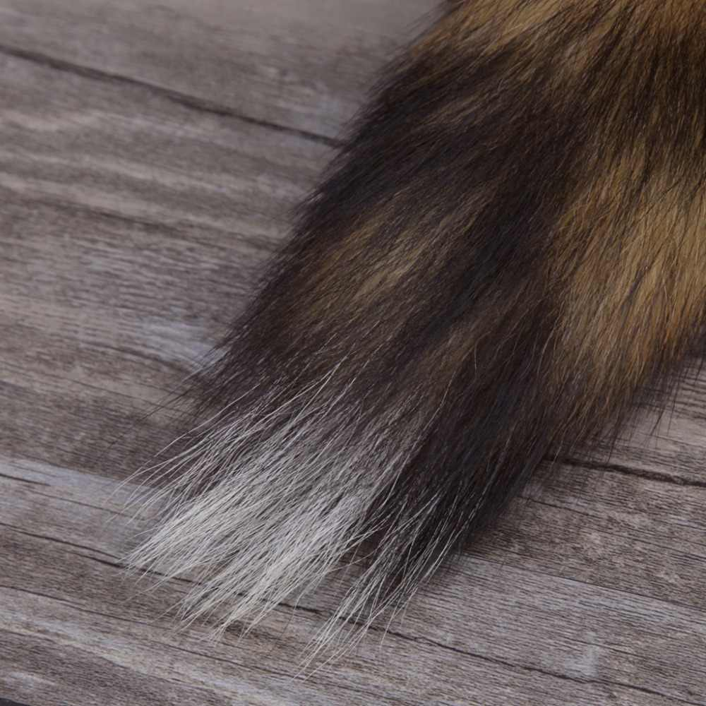 Trendy Grande chaveiro Fox Fur Cauda Tassel Bag Tag Cinta Keychain Chaveiro Cadeia Para O Saco Chave Charme Anel de navidad regalos
