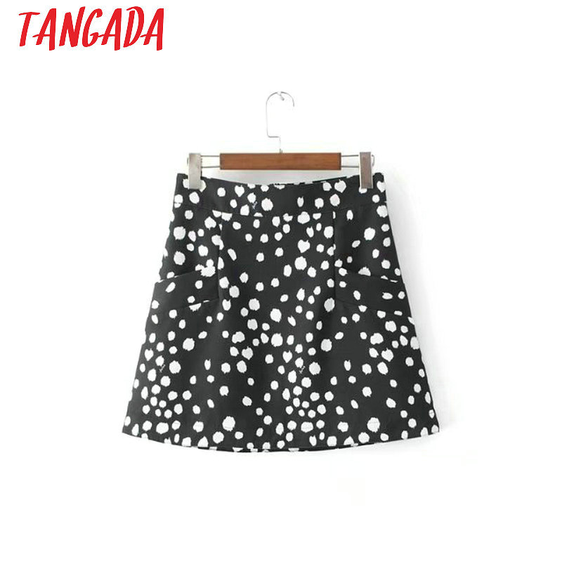 Tangada Fashion Women Black Mini Skirt High Waist Back Zipper Pocket Streetwear Casual Spring Brand Female 3D30 miniskirt