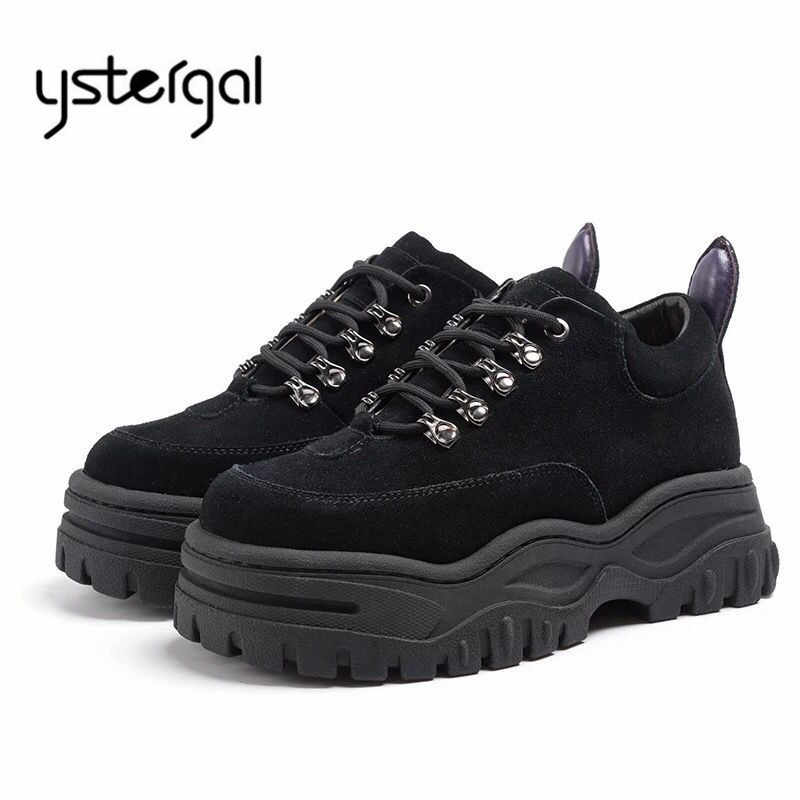 Ystergal Suede Black Female Platform Creepers Sneakers Women Casual Flat  Shoes Woman Zapatillas Mujer Espadrilles Trainers 32e355966569