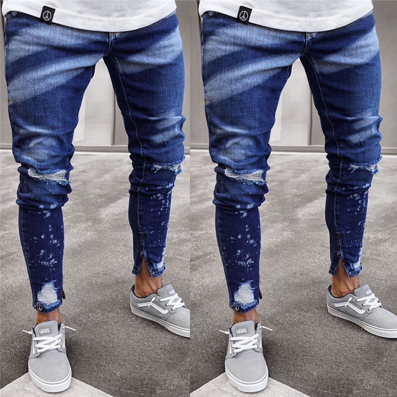 Mens Fashion Dye Skinny Stretch Jeans Distressed Ripped Jeans Freyed Denim  Trousers Cool Streetwear Pants