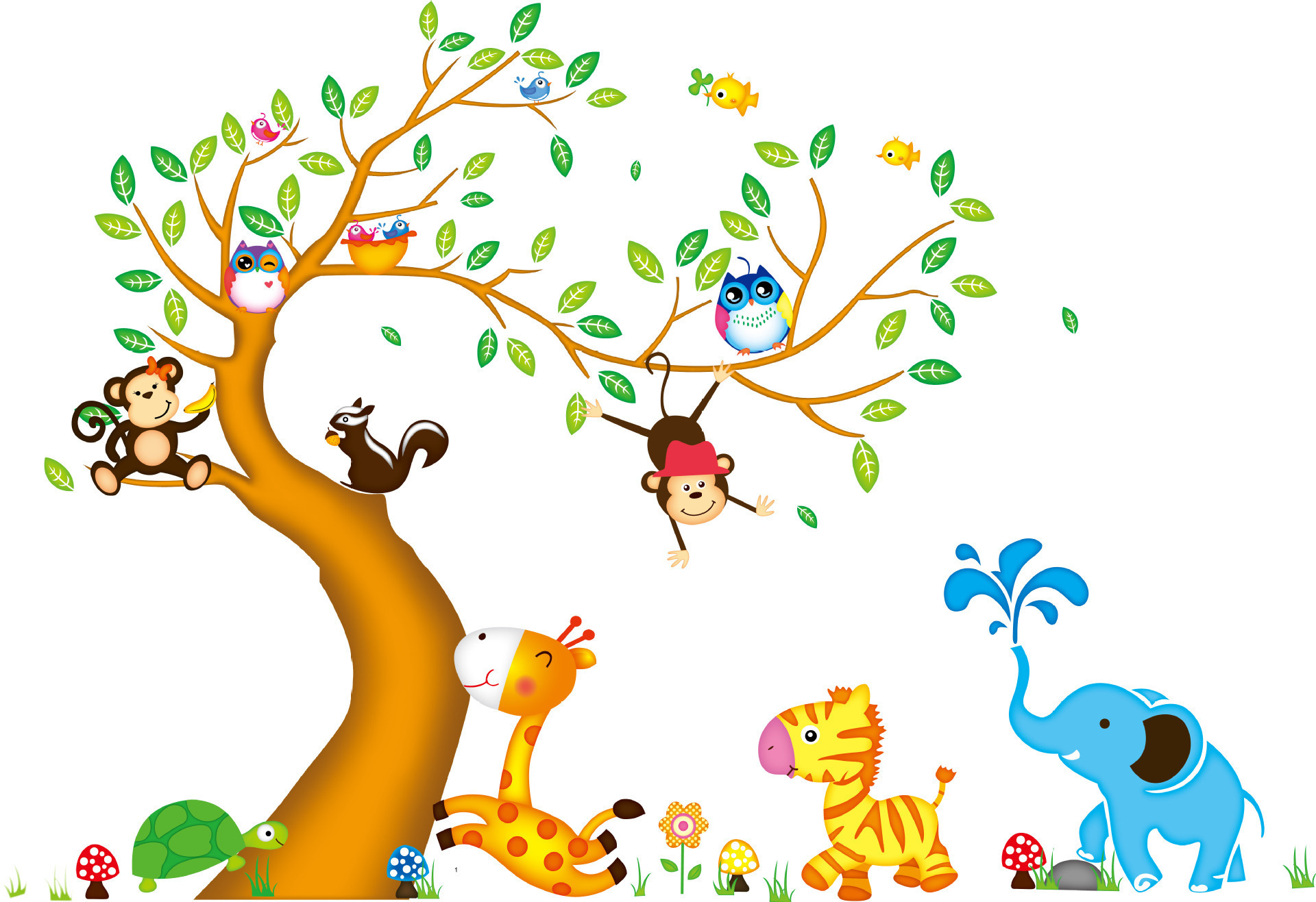 Removable Christmas Wall Stickers 135 197 Animal Jungle Monkey Tree Owl Large Removable Wall