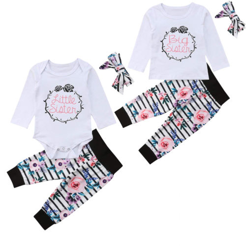 Family Clothes Set Big Sister T-shirt Little Sister Romper Long Sleeve Tops Striped Floral Long Pant Headband Outfit 3pcs