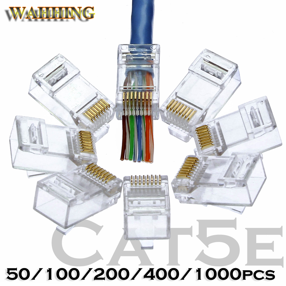 50/100pcs Rj45 Connector Cat5 Cat5e network connector 8P8C unshielded modular rj45 plug utp terminals have hole HY1538 500pcs gold plated rj45 net network modular plug cat5 cat5e connector 8p8c utp unshielded modular rj45 plug terminals have dn001