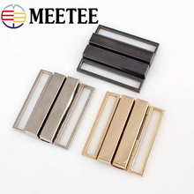 Meetee 2pcs 40mm/50mm Metal Buckle Down Jacket Belt  Clothing Tri-glide Adjust Slider DIY Decorative Accessories BD439