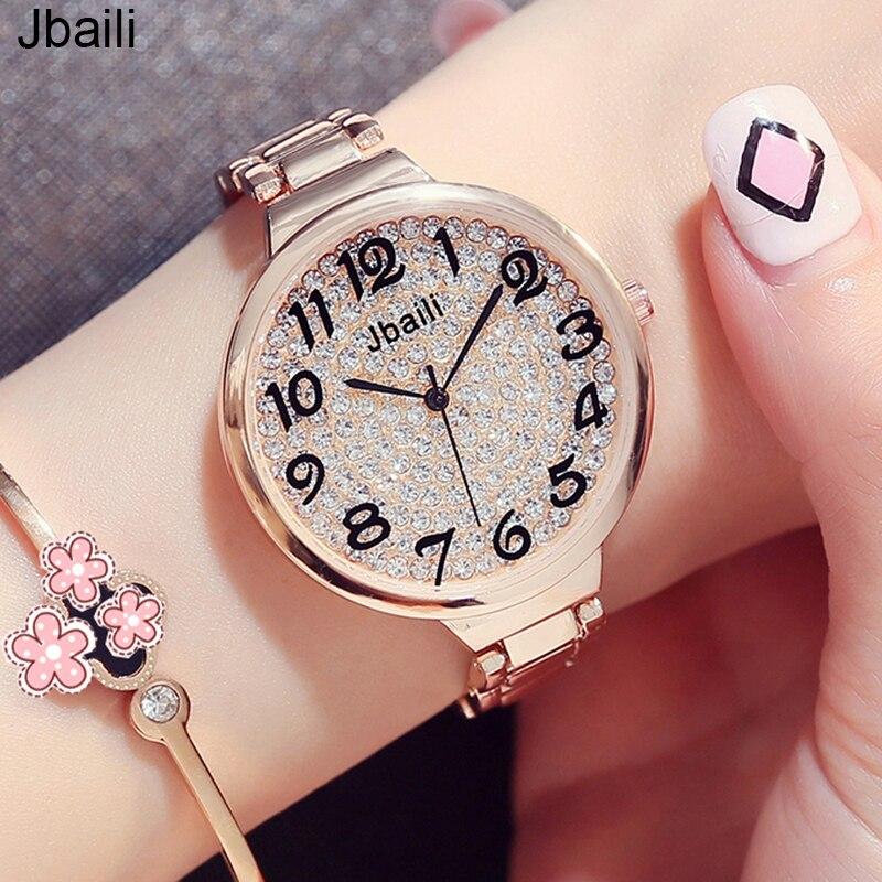 우아한 여성 시계 다이아몬드 박힌 다이얼 드레스 로즈 골드 스틸 라이드 팔찌 시계 새로운 쿼츠 손목 시계 relogio feminino