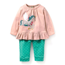girls clothing sets applique toddler girl clothes for 2-7T baby girl clothes set autumn cotton 2 pcs set children suits girl стоимость