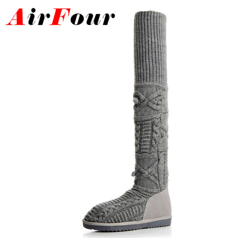 ФОТО Airfour Low Heels Big Size 34-42Winter Warm Boots Shoes Woman Black Gray Shoes Wool Knitting Cow Split Over-the-knee Boots Flats