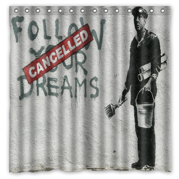 180x180cm Waterproof Bath Shower Curtain With Hooks Banksy Graffiti Bathroom Curtains Rideau De Douche Cortina La Ducha In From Home