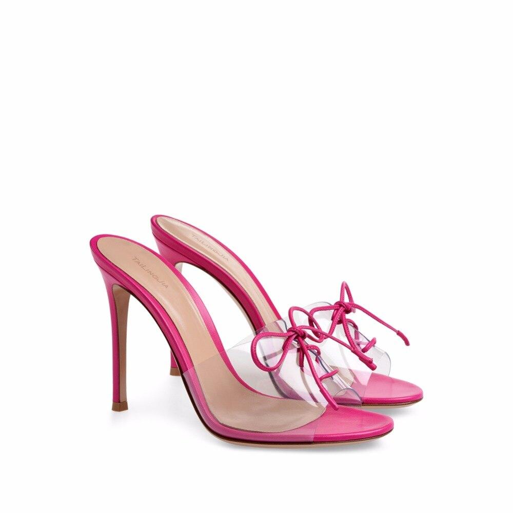 Peep Mujer red Mulas Tacones Toe Vestido Al Sexy Zapatos Sandalias Por Black Transparente Verano Mayor Pvc De Tacón 2018 Alta Encaje R1qggZxI