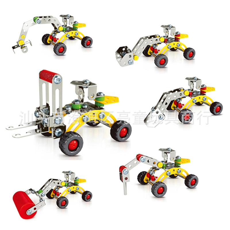 Zhenwei 3D Alloy Screw Nut Building Blocks Toy Engineering Bulldozer Model Construction Toy Set STEM  Educational Toy Set