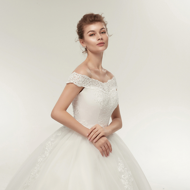 Fansmile Korean Lace Applique Ball Gowns Wedding Dresses 2020 Plus Size Bridal Dress Princess Wedding Gown Real Photo FSM-003F 5