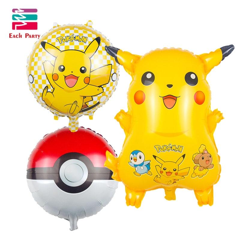 3pcs Pikachu pokemon Foil Balloons Inflatable toys Helium Balloons Children clas