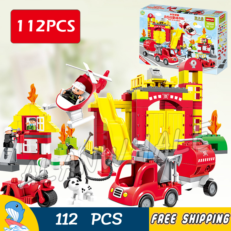 112pcs My First Fire Station Town Fire Truck Rescue Team Firefighter Model Building Blocks Toy Bricks Compatible With Lego Duplo 2018 new winter baby boys girls warm rompers newborn baby 90% white dusck down hoodie clothes infant outwear jumpsuit snowsuit