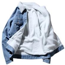2019 Новая зимняя мужская повседневная плюс бархатные толстые теплые джинсовая куртка/мужской густой слой меха лацкан ковбой пальто куртка/размер M-5XL
