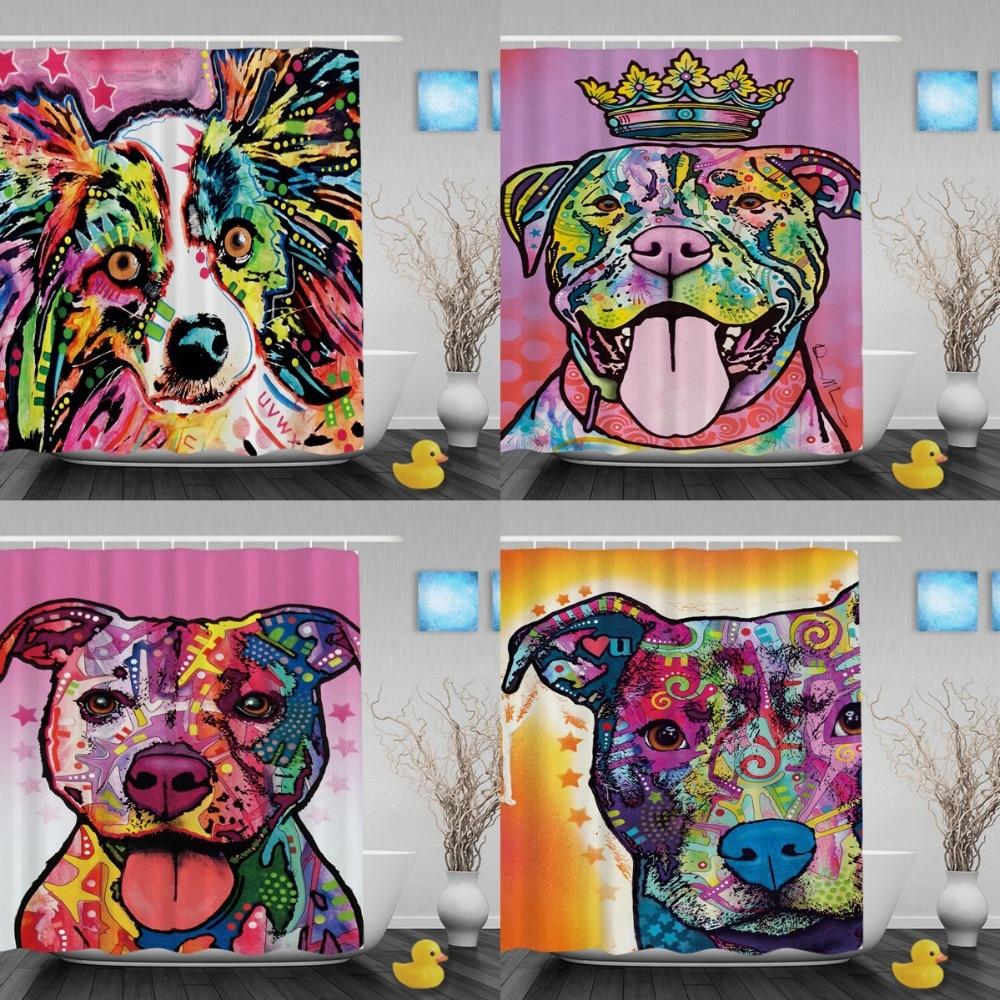 Kleurrijke Pitbull hond waterdicht douchegordijn mooie dieren - Huishouden