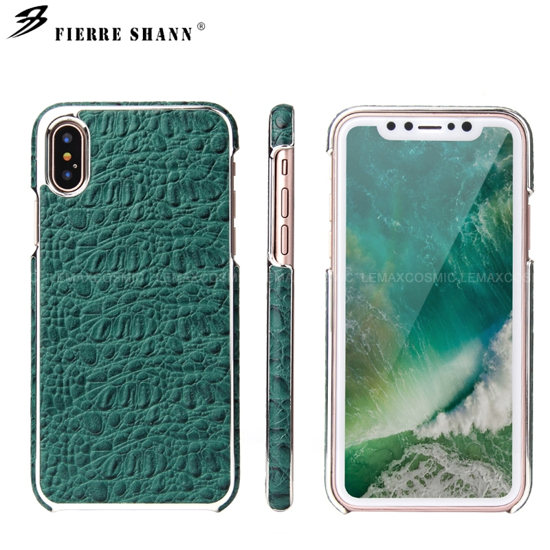 Genuine Cow Leather Crocodile Chrome Case Plating Back Cover For iPhone X 10 8 7 Plus Samsung Galaxy S8 Huawei P10 Mate 9 Pro