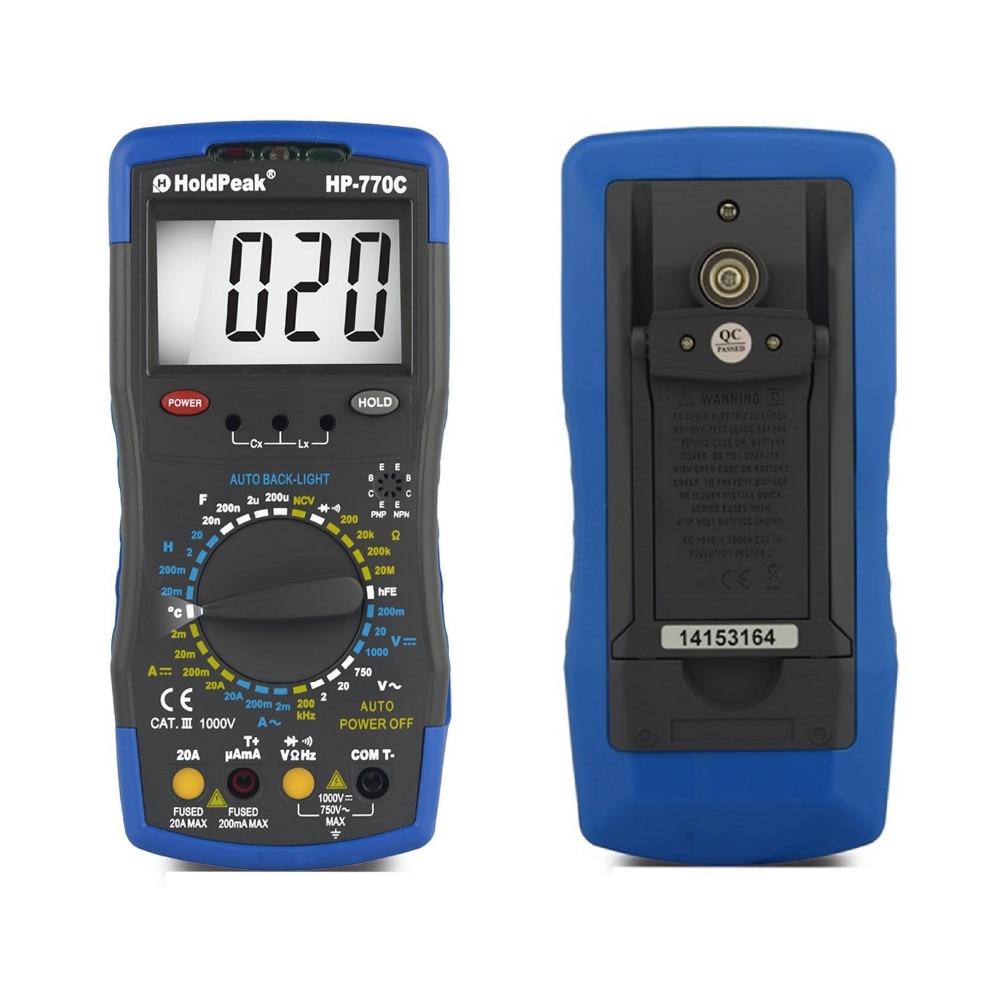 Inductance Meter HoldPeak HP-770C Digital Multimeter with Inductance/Frequency Test holdpeak hp 760g 1000volt